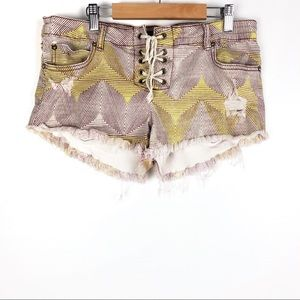 BILLABONG cut off shorts 30 chevron lacing b320